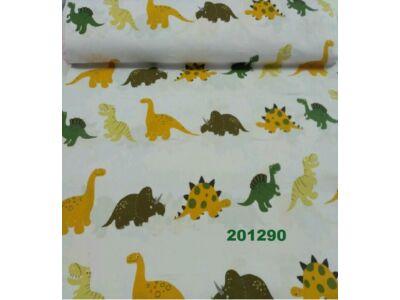 Fehér alapon zöld-sárga-barna dínós falvédő