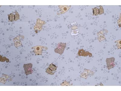 Szívecskés cicák szürke alapon anyagból készült falvédő