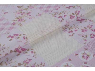 Rózsaszín patchwork mintás anyagból készült falvédő