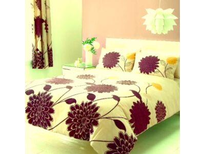 Pille pamutszatén ágyneműhuzat (kétszemélyes) - Beige flower